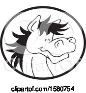 Clipart Of A Black And White Horse Mascot In An Oval Royalty Free Vector Illustration