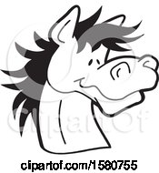 Clipart Of A Black And White Horse Mascot Royalty Free Vector Illustration