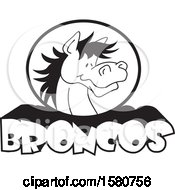 Poster, Art Print Of Black And White Horse Mascot Over Broncos Text
