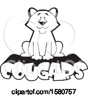 Clipart Of A Black And White Sitting Cougar Big Cat Mascot On Text Royalty Free Vector Illustration by Johnny Sajem