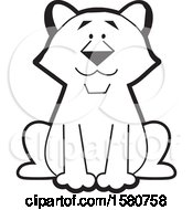 Clipart Of A Black And White Sitting Cougar Big Cat Mascot Royalty Free Vector Illustration