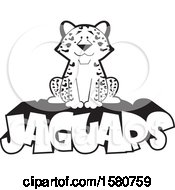 Clipart Of A Black And White Sitting Jaguar Big Cat Mascot On Text Royalty Free Vector Illustration by Johnny Sajem