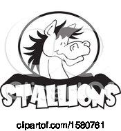 Poster, Art Print Of Black And White Horse Mascot Over Stallions Text