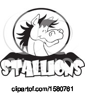 Clipart Of A Black And White Horse Mascot Over Stallions Text Royalty Free Vector Illustration
