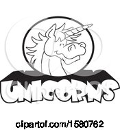 Clipart Of A Black And White Unicorn Mascot Over Text Royalty Free Vector Illustration