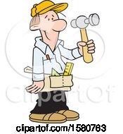 Poster, Art Print Of Cartoon White Male Carpenter Holding A Hammer