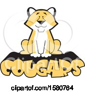 Clipart Of A Sitting Cougar Big Cat Mascot On Text Royalty Free Vector Illustration by Johnny Sajem