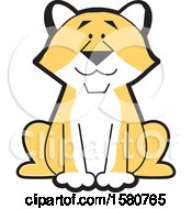Clipart Of A Sitting Cougar Big Cat Mascot Royalty Free Vector Illustration