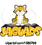 Clipart Of A Sitting Jaguar Big Cat Mascot On Text Royalty Free Vector Illustration by Johnny Sajem