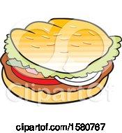 Clipart Of A Cartoon Hamburger Royalty Free Vector Illustration
