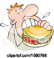 Clipart Of A Cartoon White Man Taking A Bite Of A Big Burger Royalty Free Vector Illustration