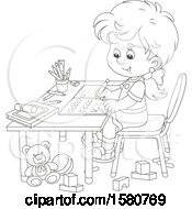 Clipart Of A Lineart School Girl Writing Letters At Her Desk Royalty Free Vector Illustration