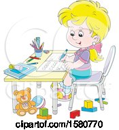 Poster, Art Print Of Blond Caucasian School Girl Writing Letters At Her Desk