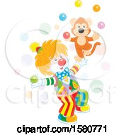 Circus Clown And Monkey Juggling