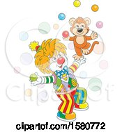 Cute Clown And Monkey Juggling