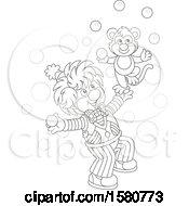 Lineart Cute Clown And Monkey Juggling