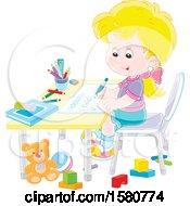 Poster, Art Print Of Blond White School Girl Writing Letters At Her Desk