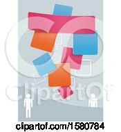 Clipart Of A Background With People And Colorful Squares Royalty Free Vector Illustration