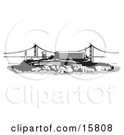 The Prison On Alcatraz Island Clipart Illustration