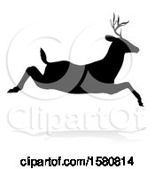 Black Silhouetted Deer Stag Buck Leaping With A Shadow On A White Background