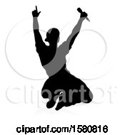 Poster, Art Print Of Silhouetted Male Singer With A Reflection Or Shadow On A White Background