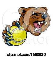 Clipart Of A Mad Grizzly Bear Mascot Holding Out A Tennis Ball In A Clawed Paw Royalty Free Vector Illustration