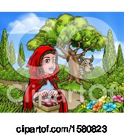 Clipart Of A Wolf Stalking Little Red Riding Hood Royalty Free Vector Illustration