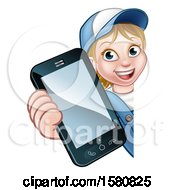 Poster, Art Print Of White Female Worker Holding A Cell Phone Around A Sign