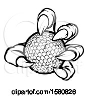 Clipart Of A Black And White Monster Claw Holding A Golf Ball Royalty Free Vector Illustration