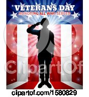 Clipart Of A Silhouetted Full Length Male Military Veteran Saluting Over An American Background And Text Royalty Free Vector Illustration
