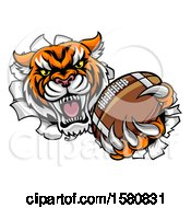 Vicious Tiger Mascot Breaking Through A Wall With A Football