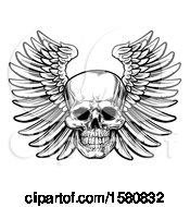 Clipart Of A Black And White Winged Human Skull Royalty Free Vector Illustration