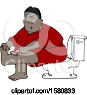 Clipart Of A Cartoon Black Woman Sitting On A Toilet In A Bathroom And Shaving Her Legs Royalty Free Vector Illustration