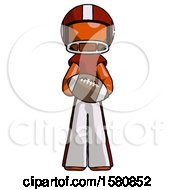 Orange Football Player Man Giving Football To You by Leo Blanchette