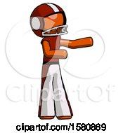 Orange Football Player Man Presenting Something To His Left