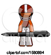 Orange Football Player Man Weightlifting A Giant Pen