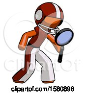 Orange Football Player Man Inspecting With Large Magnifying Glass Right