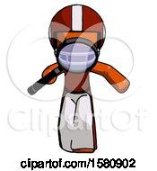Orange Football Player Man Looking Down Through Magnifying Glass