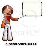 Orange Football Player Man Giving Presentation In Front Of Dry Erase Board