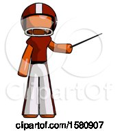 Poster, Art Print Of Orange Football Player Man Teacher Or Conductor With Stick Or Baton Directing