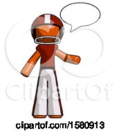 Orange Football Player Man With Word Bubble Talking Chat Icon