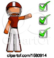 Orange Football Player Man Standing By List Of Checkmarks