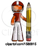 Orange Football Player Man With Large Pencil Standing Ready To Write