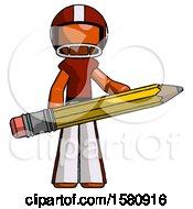 Orange Football Player Man Writer Or Blogger Holding Large Pencil