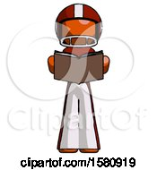 Poster, Art Print Of Orange Football Player Man Reading Book While Standing Up Facing Viewer