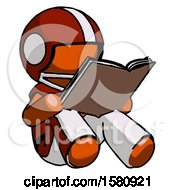 Poster, Art Print Of Orange Football Player Man Reading Book While Sitting Down