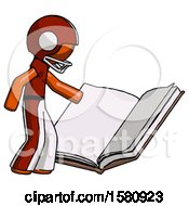 Poster, Art Print Of Orange Football Player Man Reading Big Book While Standing Beside It