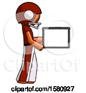Orange Football Player Man Show Tablet Device Computer To Viewer Blank Area