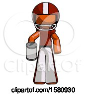 Orange Football Player Man Begger Holding Can Begging Or Asking For Charity