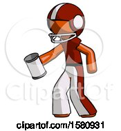 Orange Football Player Man Begger Holding Can Begging Or Asking For Charity Facing Left